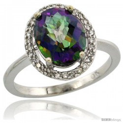 10k White Gold Diamond Mystic Topaz Ring 2.4 ct Oval Stone 10x8 mm, 1/2 in wide -Style Cw908114