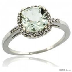 10k White Gold Diamond Green-Amethyst Ring 1.5 ct Checkerboard Cut Cushion Shape 7 mm, 3/8 in wide