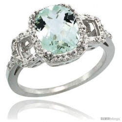 10k White Gold Diamond Green-Amethyst Ring 2 ct Checkerboard Cut Cushion Shape 9x7 mm, 1/2 in wide