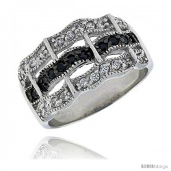 "Sterling Silver & Rhodium Plated Wavy Band, w/ Tiny High Quality CZ's (20 White, 10 Black), 1/2"" (12 mm) wide"