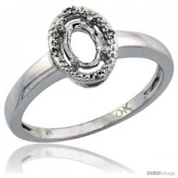 10k White Gold Semi-Mount ( 6x4 mm ) Oval Stone Ring w/ 0.013 Carat Brilliant Cut Diamonds, 3/8 in. (9.5mm) wide
