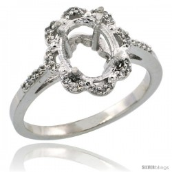 10k White Gold Semi-Mount ( 9x7 mm ) Floral Oval Stone Ring w/ 0.107 Carat Brilliant Cut Diamonds, 1/2 in. (13mm) wide