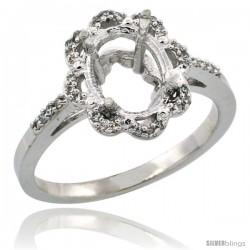 10k White Gold Semi-Mount ( 9x7 mm ) Floral Oval Stone Ring w/ 0.107 Carat Brilliant Cut Diamonds, 1/2 in. (13mm) wide
