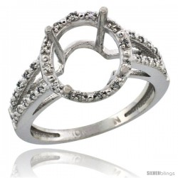 10k White Gold Semi-Mount ( 11x9 mm ) Oval Stone Ring w/ 0.105 Carat Brilliant Cut Diamonds, 1/2 in. (13mm) wide