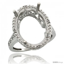 10k White Gold Semi-Mount ( 18x13 mm ) Large Oval Stone Ring w/ 0.04 Carat Brilliant Cut Diamonds, 13/16 in. (21mm) wide