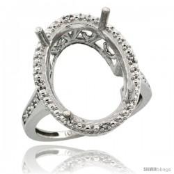10k White Gold Semi-Mount ( 18x13 mm ) Large Oval Stone Ring w/ 0.04 Carat Brilliant Cut Diamonds, 13/16 in. (21mm) wide