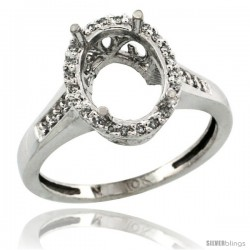 10k White Gold Semi-Mount ( 10x8 mm ) Oval Stone Ring w/ 0.107 Carat Brilliant Cut Diamonds, 1/2 in. (12.5mm) wide