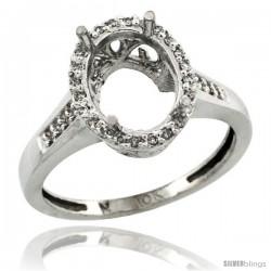 10k White Gold Semi-Mount ( 10x8 mm ) Oval Stone Ring w/ 0.107 Carat Brilliant Cut Diamonds, 1/2 in. (12.5mm) wide