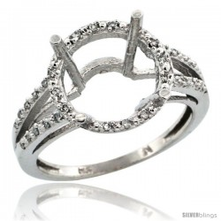 10k White Gold Semi-Mount ( 11 mm ) Large Round Stone Ring w/ 0.107 Carat Brilliant Cut Diamonds, 1/2 in. (12.5mm) wide