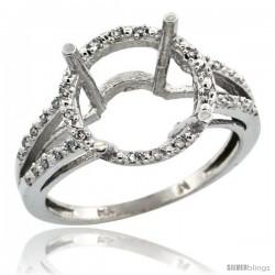 10k White Gold Semi-Mount ( 11 mm ) Large Round Stone Ring w/ 0.107 Carat Brilliant Cut Diamonds, 1/2 in. (12.5mm) wide