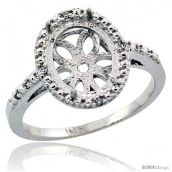 10k White Gold Semi-Mount ( 10x8 mm ) Oval Stone Ring w/ 0.027 Carat Brilliant Cut Diamonds, 1/2 in. (13mm) wide