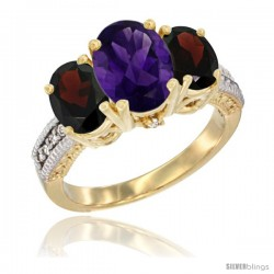 10K Yellow Gold Ladies 3-Stone Oval Natural Amethyst Ring with Garnet Sides Diamond Accent