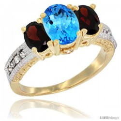 10K Yellow Gold Ladies Oval Natural Swiss Blue Topaz 3-Stone Ring with Garnet Sides Diamond Accent