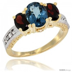 10K Yellow Gold Ladies Oval Natural London Blue Topaz 3-Stone Ring with Garnet Sides Diamond Accent