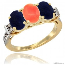 10K Yellow Gold Natural Coral & Lapis Sides Ring 3-Stone Oval 7x5 mm Diamond Accent