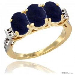 10K Yellow Gold Natural Lapis Ring 3-Stone Oval 7x5 mm Diamond Accent