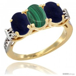 10K Yellow Gold Natural Malachite & Lapis Sides Ring 3-Stone Oval 7x5 mm Diamond Accent