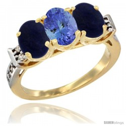 10K Yellow Gold Natural Tanzanite & Lapis Sides Ring 3-Stone Oval 7x5 mm Diamond Accent