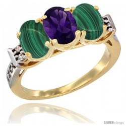 10K Yellow Gold Natural Amethyst & Malachite Sides Ring 3-Stone Oval 7x5 mm Diamond Accent