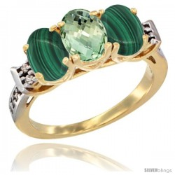 10K Yellow Gold Natural Green Amethyst & Malachite Sides Ring 3-Stone Oval 7x5 mm Diamond Accent