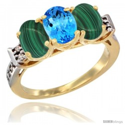 10K Yellow Gold Natural Swiss Blue Topaz & Malachite Sides Ring 3-Stone Oval 7x5 mm Diamond Accent