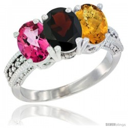14K White Gold Natural Pink Topaz, Garnet & Whisky Quartz Ring 3-Stone 7x5 mm Oval Diamond Accent