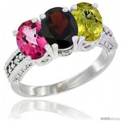 14K White Gold Natural Pink Topaz, Garnet & Lemon Quartz Ring 3-Stone 7x5 mm Oval Diamond Accent
