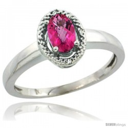 14k White Gold Diamond Halo Pink Topaz Ring 0.75 Carat Oval Shape 6X4 mm, 3/8 in (9mm) wide