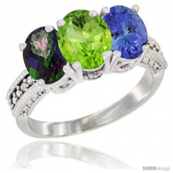 10K White Gold Natural Mystic Topaz, Peridot & Tanzanite Ring 3-Stone Oval 7x5 mm Diamond Accent