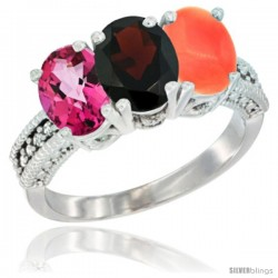 14K White Gold Natural Pink Topaz, Garnet & Coral Ring 3-Stone 7x5 mm Oval Diamond Accent