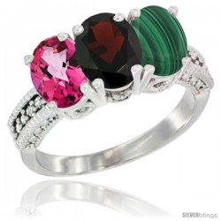 14K White Gold Natural Pink Topaz, Garnet & Malachite Ring 3-Stone 7x5 mm Oval Diamond Accent
