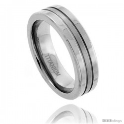 Titanium 6mm Flat Wedding Band Ring Matte Stripe Center Comfort-fit