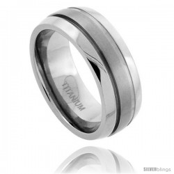 Titanium 8mm Dome Wedding Band Ring Matte Stripe Center Beveled Edges Comfort-fit