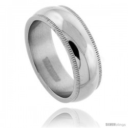 Titanium 7mm Dome Millgrain Wedding Band Ring Highly Polished Comfort-fit