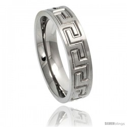 Titanium 6mm Flat Wedding Band Ring Greek Key pattern Comfort-fit