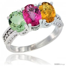 14K White Gold Natural Green Amethyst, Pink Topaz & Whisky Quartz Ring 3-Stone 7x5 mm Oval Diamond Accent