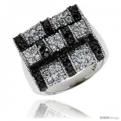 "Sterling Silver Square Ring, Rhodium Plated w/ 2mm Black & White CZ's, 11/16"" (18 mm) wide"
