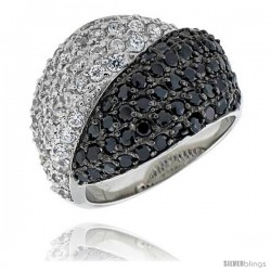 "Sterling Silver Dome Ring, & Rhodium Plated w/ 2mm High Quality Black & White CZ's, 3/4"" (19 mm) wide"