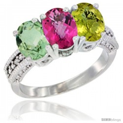 14K White Gold Natural Green Amethyst, Pink Topaz & Lemon Quartz Ring 3-Stone 7x5 mm Oval Diamond Accent