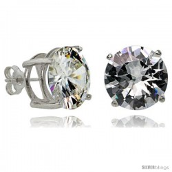 Sterling Silver 14 mm Brilliant Cut Cubic Zirconia Stud Earrings Basket Set 21 cttw
