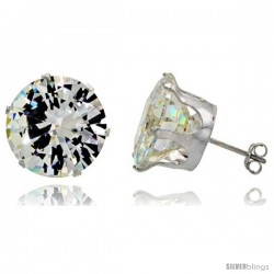 Sterling Silver Cubic Zirconia Stud Earrings 26 cttw Brilliant-cut