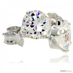 Sterling Silver Cubic Zirconia Stud Earrings 1 cttw Brilliant-cut