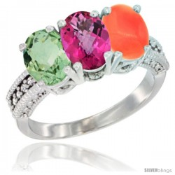 14K White Gold Natural Green Amethyst, Pink Topaz & Coral Ring 3-Stone 7x5 mm Oval Diamond Accent