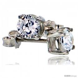 Sterling Silver 5 mm Brilliant Cut Cubic Zirconia Stud Earrings Basket Set 1 cttw