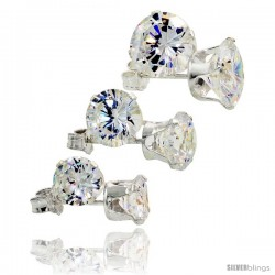 3-Pair Set Sterling Silver Brilliant Cut Cubic Zirconia Stud Earrings 6, 7 and 8mm