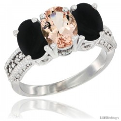 14K White Gold Natural Morganite & Black Onyx Sides Ring 3-Stone 7x5 mm Oval Diamond Accent