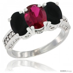 14K White Gold Natural Ruby & Black Onyx Sides Ring 3-Stone 7x5 mm Oval Diamond Accent