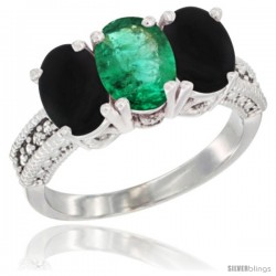 14K White Gold Natural Emerald & Black Onyx Sides Ring 3-Stone 7x5 mm Oval Diamond Accent