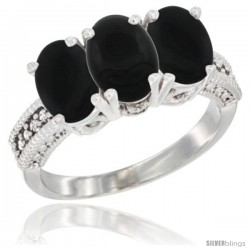 14K White Gold Natural Black Onyx Ring 3-Stone 7x5 mm Oval Diamond Accent