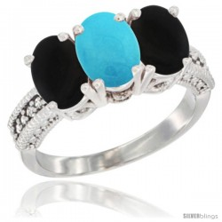 14K White Gold Natural Turquoise & Black Onyx Sides Ring 3-Stone 7x5 mm Oval Diamond Accent